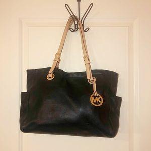 Michael Kors Black Leather Tote Shoulder Handbag